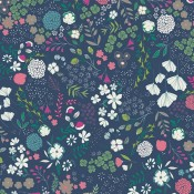 Art Gallery Fabrics  Blooming Ground Luscious dunkelblau