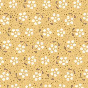Tilda Basics Meadow honiggelb mit Blumen und Punkten