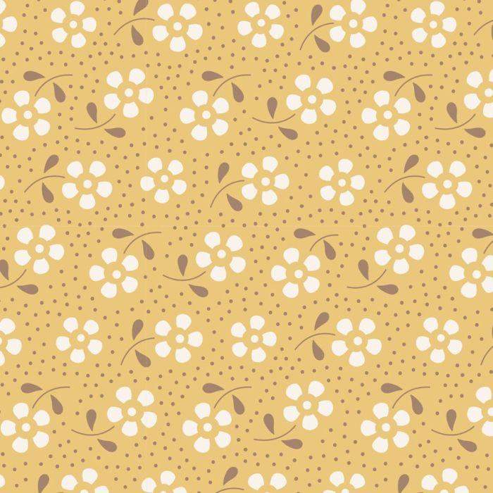 Tilda Meadow honiggelb mit Blumen und Punkten
