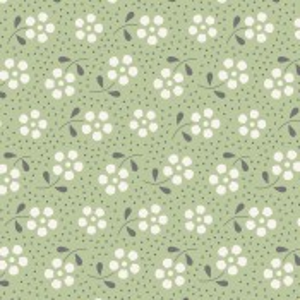 Tilda Basics Meadow kiefergrün mit Blumen und Punkten