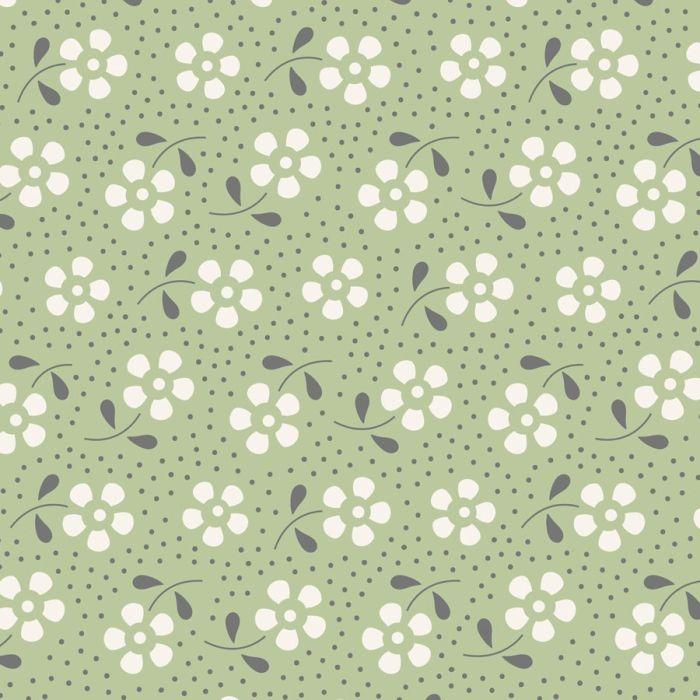 Tilda Meadow kiefergrün mit Blumen und Punkten