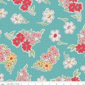Riley Blake Canvas My Happy Place Floral Cottage türkis