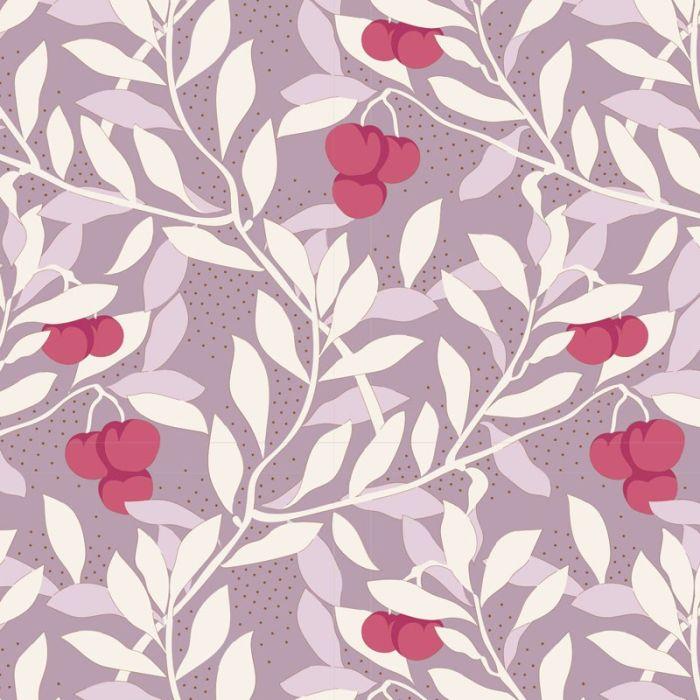Tilda Cherrybush mauve mit Kirschen und Ranken
