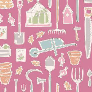 Tilda Farm Tools pink mit bunten Gartenwerkzeugen