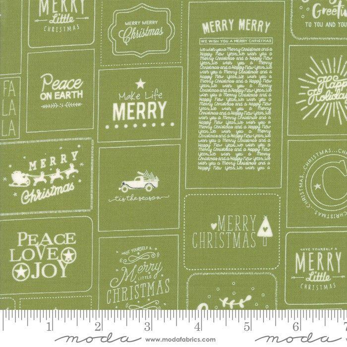 Moda Fabrics Christmas Cards grün