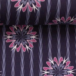 Swafing Stoff Kim dunkelblau mit Blüten und Streifen