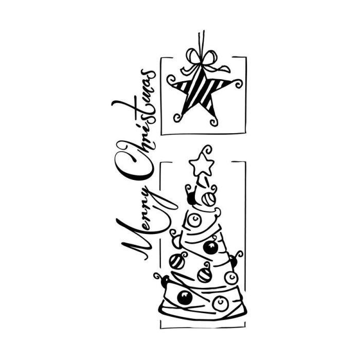 Stempel Holz mit Weihnachtsbaum und Stern