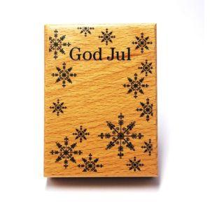 Stempel Holz God Jul mit Eiskristallen