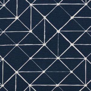 Swafing Stoff Kurt mit gemoetrischen Linien dunkelblau