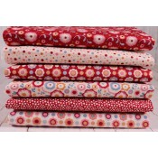 Tilda Fat Quarter Stoffpaket Candy Bloom rot und creme