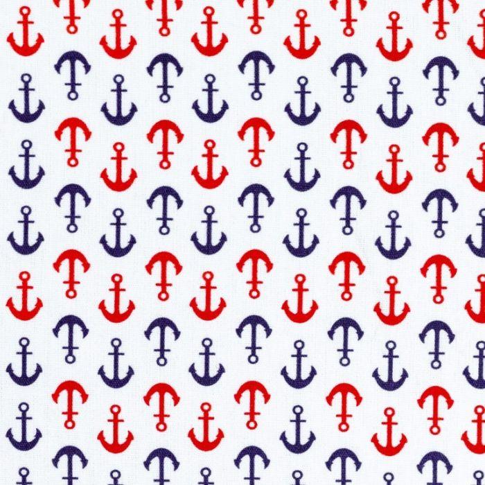 Swafing Webware Kiel weiß mit roten und blauen Ankern