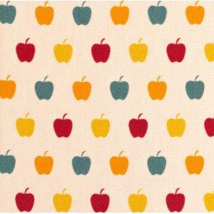 Swafing Webware Timo naturweiß mit bunten Äpfeln