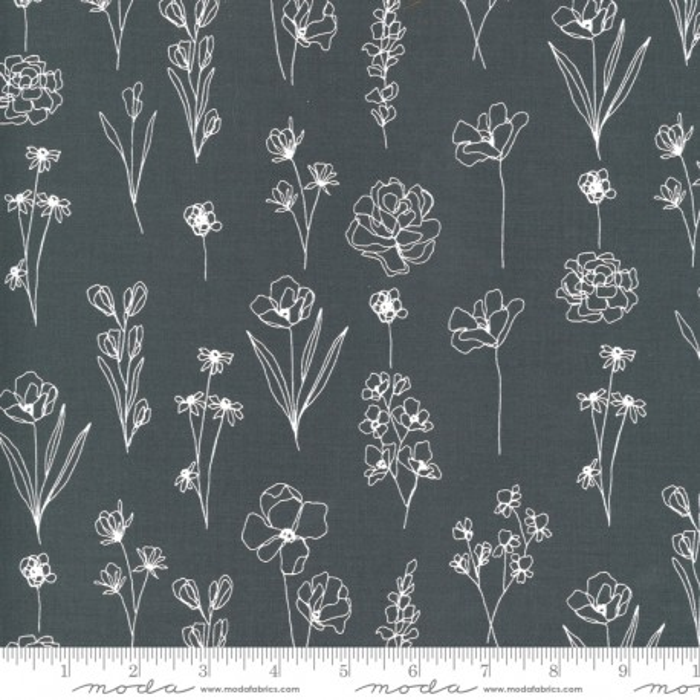 Moda Fabrics Illustrations Floral Doodle grafit
