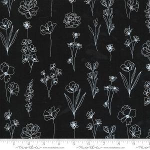Moda Fabrics Illustrations Floral Doodle schwarz