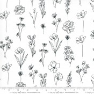 Moda Fabrics Illustrations Floral Doodle weiß
