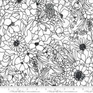 Moda Fabrics Illustrations Modern Florals weiß