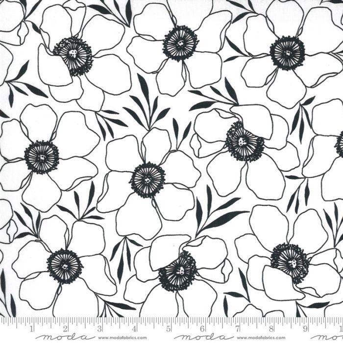 Moda Fabrics Illustrations Moody Florals weiß