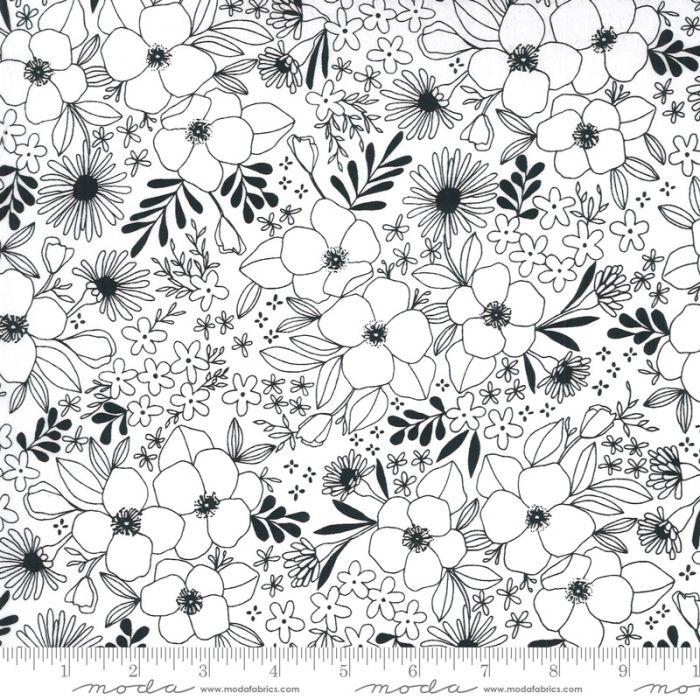 Moda Fabrics Illustrations Wild Florals weiß