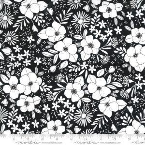 Moda Fabrics Illustrations Wild Florals schwarz