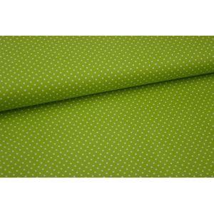 Stoff Judith grün mit kleinen weißen Punkten