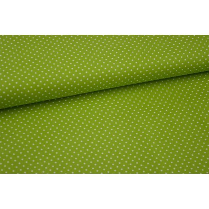 Stoff grün mit kleinen weißen Punkten
