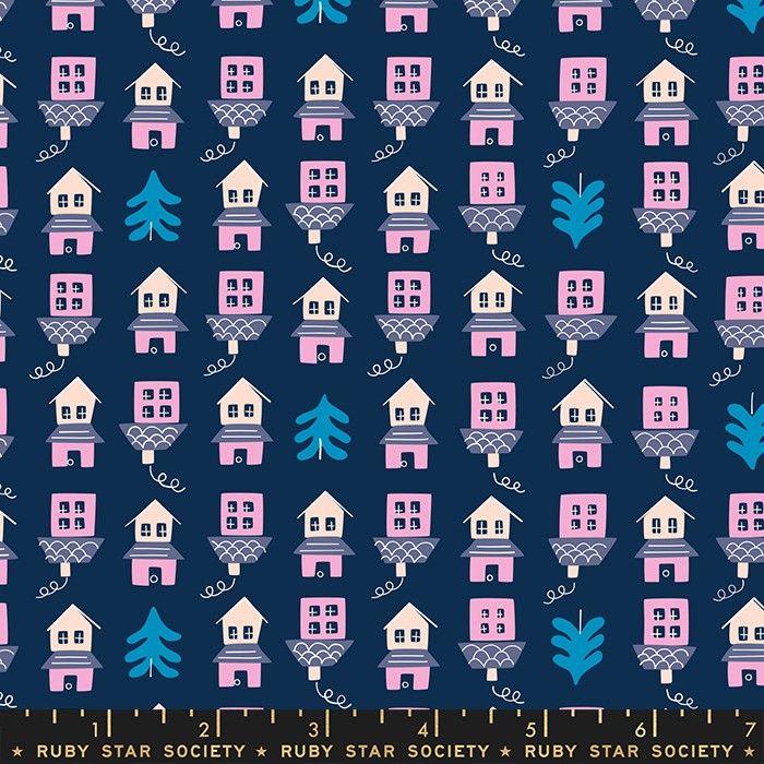 Moda Fabrics Tarry Town Little Houses Navy
