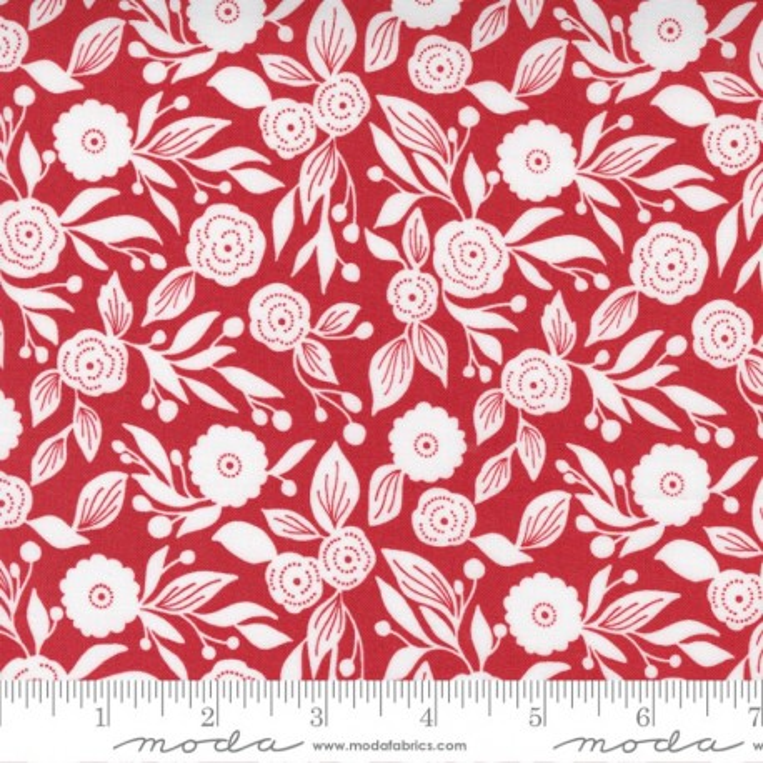 Moda Fabrics Christmas Morning Winter Flora Cranberry