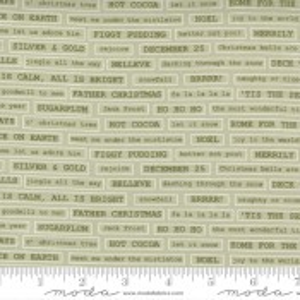 Moda Fabrics Christmas Morning Fa La La Text Sage