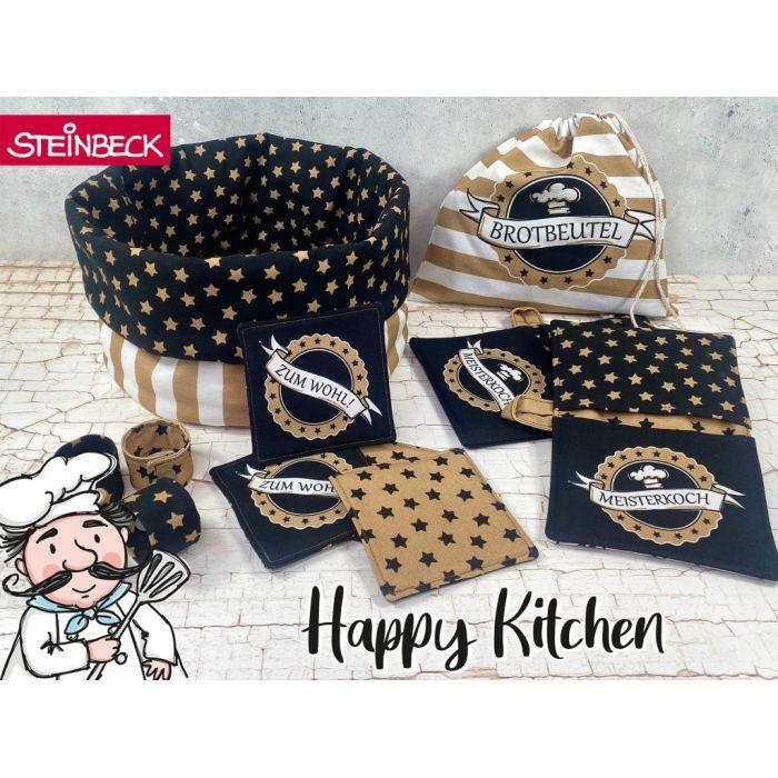 Swafing Panel Nähset Happy Kitchen by Steinbeck gold und schwarz