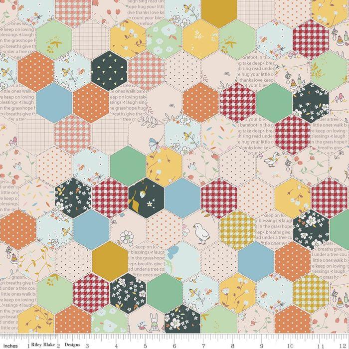 Riley Blake Hidden Cottage Hexagon Forest