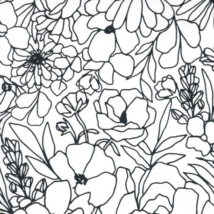 Moda Fabrics Illustrations Canvas Modern Florals weiß