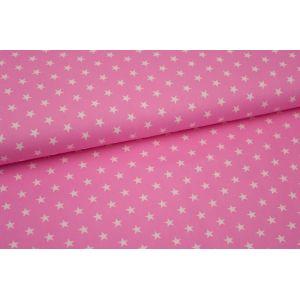 Stoff rosa mit kleinen weißen Sternen