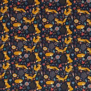 Swafing Stoff Bodo mit Füchsen und Wiesenblumen dunkelblau