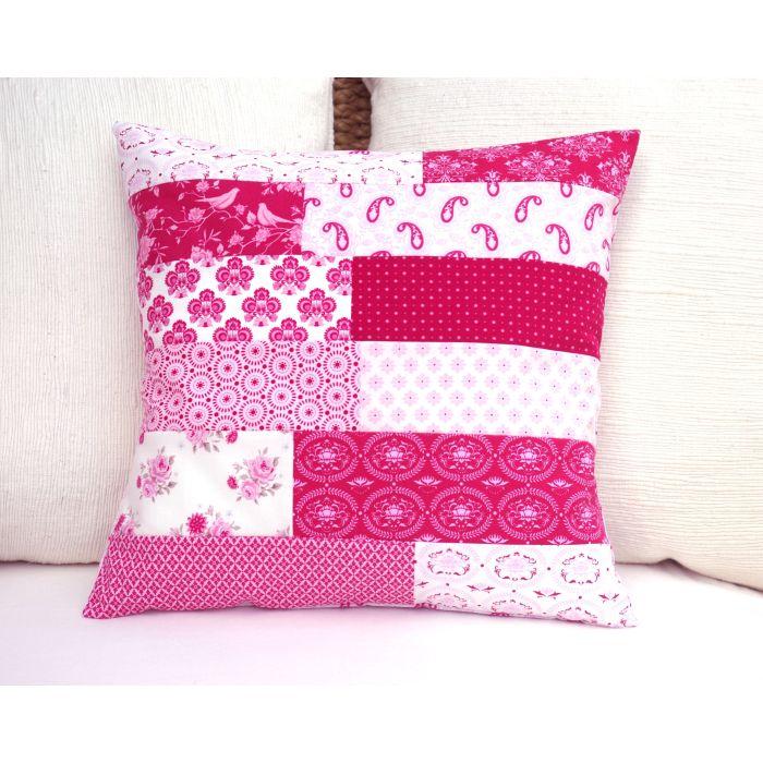 Kissenbezug Patchwork Streifen rot rosa