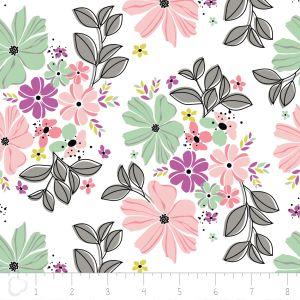 Camelot Fabrics Georgeous Florals weiß mit großen Blumen