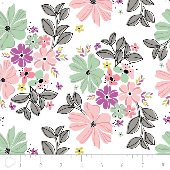 Camelot Fabrics Georgeous Florals weiß