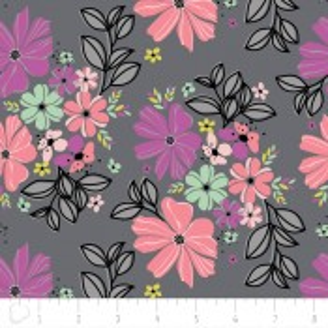 Camelot Fabrics Georgeous Florals grau mit großen Blumen